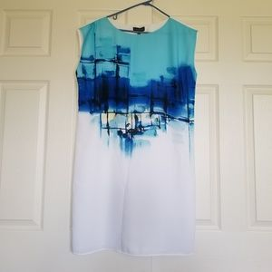 The Limited | White and Blue graphic dress